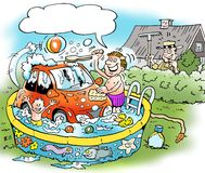 Cartoon illustration of a family man who washes the little car Stock Image