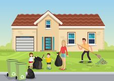 Cartoon illustration family removes leaves royalty free illustration