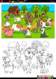 Farm animals characters group color book. Cartoon Illustration of Farm Animal Comic Characters Group Coloring Book Activity Stock Photography