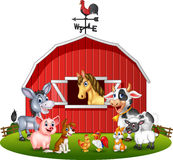 Cartoon illustration Farm background with animals Royalty Free Stock Photography