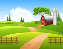 Cartoon illustration of farm background Stock Image