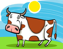 Cartoon illustration of farm cow Stock Photography