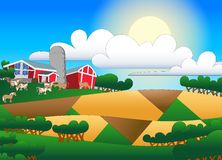 Cartoon illustration of farmland with buildings and flock Royalty Free Stock Photo