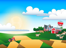 Cartoon illustration of farmland with buildings and flock Stock Images