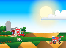 Cartoon illustration of farmland with buildings and flock Royalty Free Stock Photography