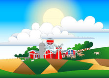 Cartoon illustration of farmland with buildings and flock Stock Photo