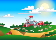 Cartoon illustration of farmland with buildings and flock Royalty Free Stock Images