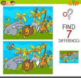 Spot the differences game with safari animals. Cartoon Illustration of Find the Differences Between Pictures Educational Activity Game for Children with Safari Royalty Free Stock Photo