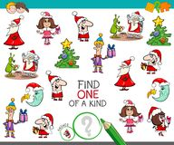 Christmas one of a kind cartoon activity. Cartoon Illustration of Find One of a Kind Educational Activity Game for Children with Christmas Characters and Objects Royalty Free Stock Photo
