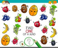 One of a kind game with fruit characters. Cartoon Illustration of Find One of a Kind Educational Activity Game for Children with Fruits Comic Characters Royalty Free Stock Photo