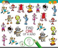 One of a kind game with robot characters. Cartoon Illustration of Find One of a Kind Educational Activity Game for Children with Robots Comic Characters royalty free illustration