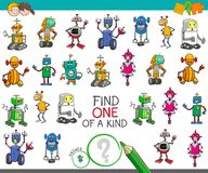 One of a kind activity with robots characters. Cartoon Illustration of Find One of a Kind Educational Activity Game for Children with Robots Machines Characters Royalty Free Stock Image
