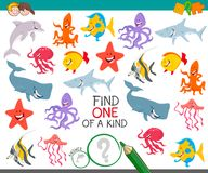 Find one animal of a kind game for children. Cartoon Illustration of Find One of a Kind Educational Activity Game for Kids with Sea Life Animal Characters Stock Images