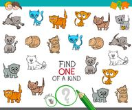 Find one of a kind with cat characters. Cartoon Illustration of Find One of a Kind Picture Educational Activity Game for Children with Cats Animal Characters Royalty Free Stock Photo