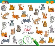 Find one of a kind with cats animal characters. Cartoon Illustration of Find One of a Kind Picture Educational Activity Game for Children with Cats and Kittens Stock Image
