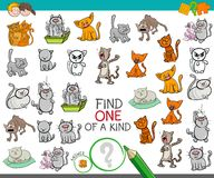 Find one of a kind game with cat characters. Cartoon Illustration of Find One of a Kind Picture Educational Activity Game for Children with Cats or Kittens Funny Royalty Free Stock Image