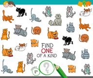 Find one of a kind picture with cat character. Cartoon Illustration of Find One of a Kind Picture Educational Activity Game for Children with Cats or Kittens Stock Photo
