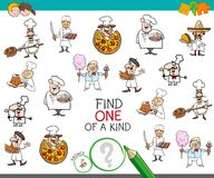 Find one of a kind game with chef characters. Cartoon Illustration of Find One of a Kind Picture Educational Activity Game for Children with Chef Characters Stock Photos