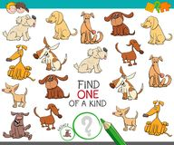 Find one of a kind with dog characters. Cartoon Illustration of Find One of a Kind Picture Educational Activity Game for Children with Dogs or Puppies Characters Royalty Free Stock Images
