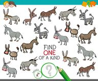 Find one of a kind with donkeys animal characters. Cartoon Illustration of Find One of a Kind Picture Educational Activity Game for Children with Donkeys Animal Stock Image