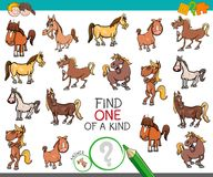 Find one of a kind with horse animal characters. Cartoon Illustration of Find One of a Kind Picture Educational Activity Game for Children with Horses Farm Royalty Free Stock Photos