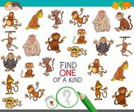 Find one of a kind with monkey characters. Cartoon Illustration of Find One of a Kind Picture Educational Activity Game for Children with Monkey Characters Stock Image