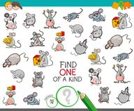 Find one of a kind with mouse characters. Cartoon Illustration of Find One of a Kind Picture Educational Activity Game for Children with Mouse Characters Stock Photos