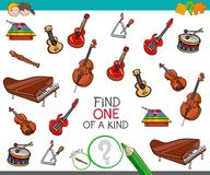 Find one of a kind game with musical instruments. Cartoon Illustration of Find One of a Kind Picture Educational Activity Game for Children with Musical Stock Photos