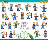 Find one of a kind game with worker characters. Cartoon Illustration of Find One of a Kind Picture Educational Activity Game for Children with Professional Stock Photos