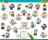 One of a kind game with professionals color book. Cartoon Illustration of Find One of a Kind Picture Educational Activity Game for Children with Professionals Stock Image