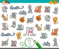 Find one of a kind with cat animal character. Cartoon Illustration of Find One of a Kind Picture Educational Activity Game for Kids with Cats or Kittens Animal Stock Images