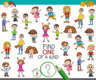 Find one of a kind game with kid boys and girls. Cartoon Illustration of Find One of a Kind Picture Educational Activity Game for Kids with Children Characters Royalty Free Stock Photography