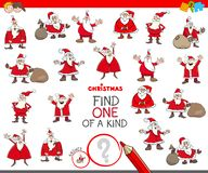 Find one of a kind game with Santa Claus. Cartoon Illustration of Find One of a Kind Picture Educational Game for Children with Santa Claus Characters stock illustration