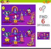 Differences game with clown characters. Cartoon Illustration of Find and Spot Six Differences Between Pictures Educational Activity Game for Kids with Clown Royalty Free Stock Photo
