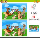 Differences game with dogs animal characters. Cartoon Illustration of Find and Spot Six Differences Between Pictures Educational Activity Game for Kids with Dogs Royalty Free Stock Photos
