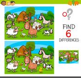 Differences game with farm animal characters. Cartoon Illustration of Find and Spot Six Differences Between Pictures Educational Activity Game for Kids with Farm Stock Photo