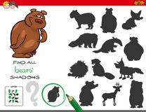 Shadows game with bear characters Royalty Free Stock Images