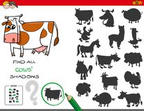 Shadows game with cows characters Stock Images