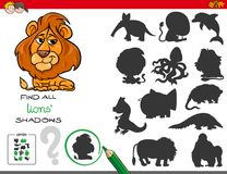 Shadows game with lion characters Stock Images