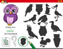 Shadows game with owl characters Royalty Free Stock Images