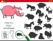 Shadows game with pigs characters Stock Images