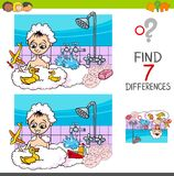 Differences game with boy playing in bath Royalty Free Stock Photo