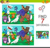 Find differences game with birds characters. Cartoon Illustration of Finding Differences Between Pictures Educational Activity Game for Children with Birds Royalty Free Stock Photography