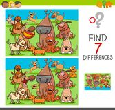 Find differences game with dog characters. Cartoon Illustration of Finding Differences Between Pictures Educational Activity Game for Children with Dogs Animal Royalty Free Stock Image