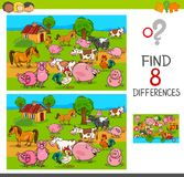 Differences game with farm animal characters. Cartoon Illustration of Finding Differences Between Pictures Educational Activity Game for Kids with Comic Farm Stock Photos