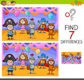 Differences game with kids on masked ball. Cartoon Illustration of Finding Differences Between Pictures Educational Activity Game with Playful Children Royalty Free Stock Photography
