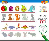 Find animal that not fit  in the row. Cartoon Illustration of Finding Picture that does not Fit in a Row Activity Game for Children Stock Image