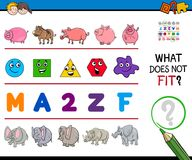 Find wrong picture in a row educational game. Cartoon Illustration of Finding Picture that does not Fit in a Row Educational Game with Animals and Shapes and Royalty Free Stock Photo