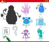 Shadows game with cartoon monster characters Stock Image