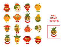 Cartoon  Illustration of Finding the Same Picture.  Educational. Game for Preschool Children Stock Photos